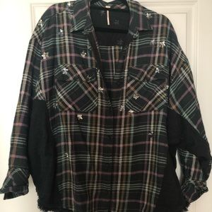 rare!! FP star sequin plaid top!